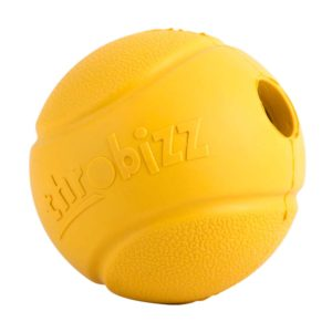 yellow rubber dogball with hole either end