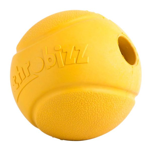 large yellow rubber ball for dogs to play
